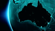 Earth connections. Australia. Aerial, maritime, ground routes and country borders. video