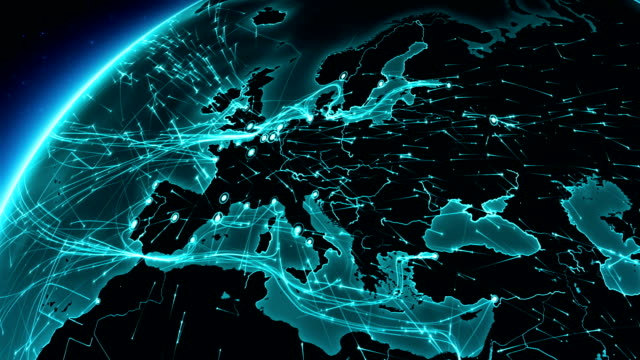 Earth connections. Europe. Aerial, maritime, ground routes and country borders. video