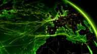 Earth connections. Europe-North America. Aerial, maritime, ground routes/country borders. video