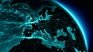 Earth connections. Europe-North America. Aerial, maritime, ground routes and country borders. video