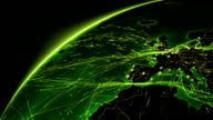 Earth connections. Europe- US. Aerial, maritime, terrestrial routes and country borders. video