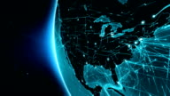 Earth connections. USA. Aerial, maritime, ground routes and country borders. video