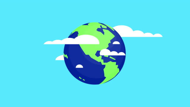 earth day, rotating earth and moving clouds video