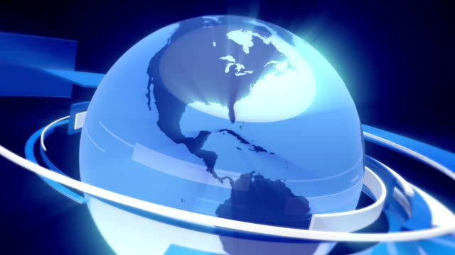 Earth Globe Animation (3D Blue Glass World) video
