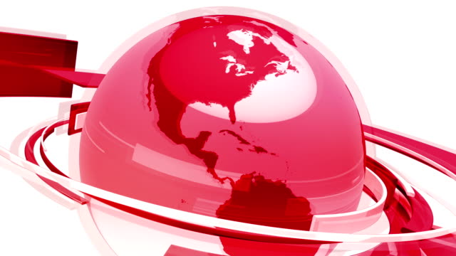 Earth Globe Animation (3D Red Glass World) video