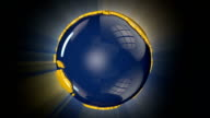 Earth Globe Blue and Yellow Rotating, loop, shine video