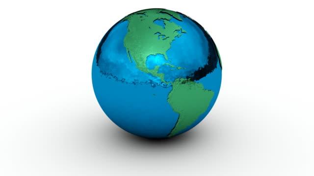 Earth Globe Chrome On White video