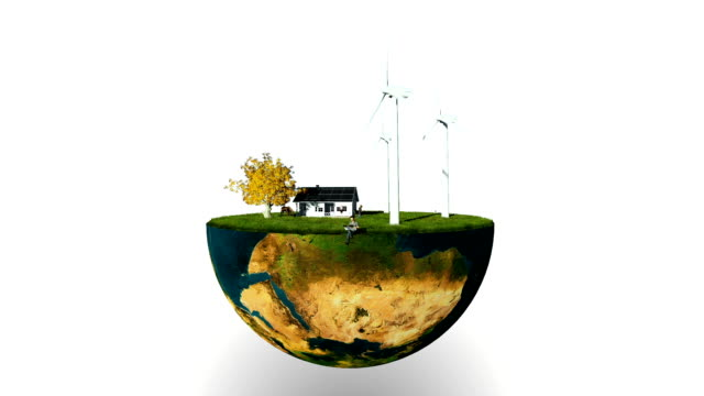 Earth globe holding wind turbines and happy family against white video