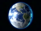 Earth globe rotating in space - digital animation video