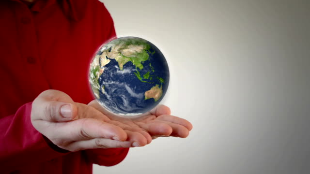Earth in man's hands video