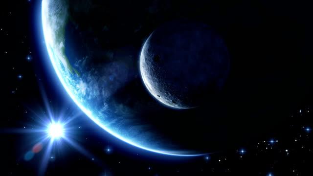 Earth, moon and sun. Blue light. HD 1080. video