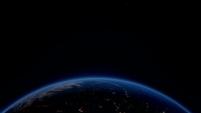 Earth rotating from night to day video