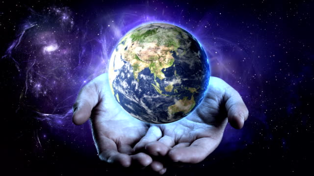 Earth turning in your hands. video