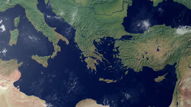 Earth  zoom centered on southern Italy (with alpha matte) video