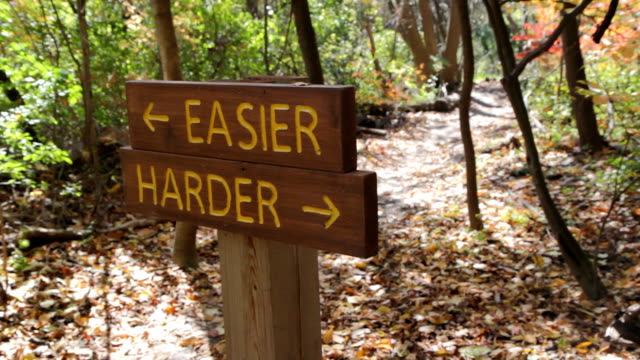 Easier or Harder trail. Biker goes by. video