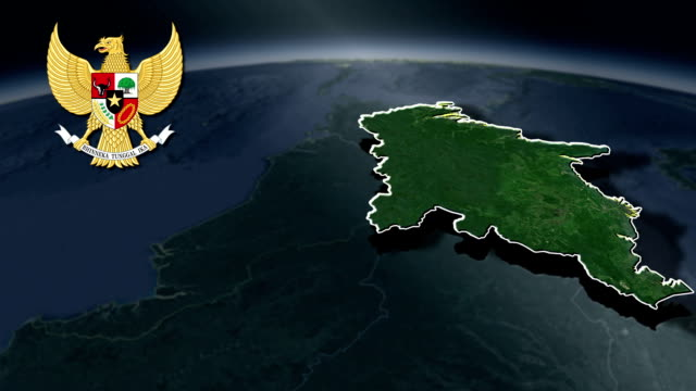 East Kalimantan with Coat Of Arms Animation Map video
