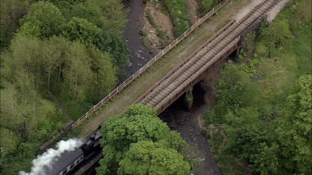 East Lancashire Steam Railway  - Aerial View - England,  Lancashire,  Rossendale District helicopter filming,  aerial video,  cineflex,  establishing shot,  United Kingdom video