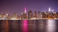 east side manhattan bay night light 4k time lapse from new york video