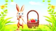 Easter bunny saying by with eggs basket video