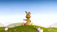 Easter bunny with a basket and eggs video