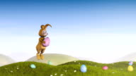 Easter bunny with an decorated egg video