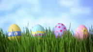 Easter eggs in grass, time lapse video