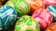 Easter painted eggs background - loopable video