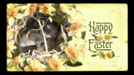 Easter video card, vintage style. Baby bunnies cuddling, spring flowers. video