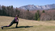 Easy warm up exercise before mountain running. video