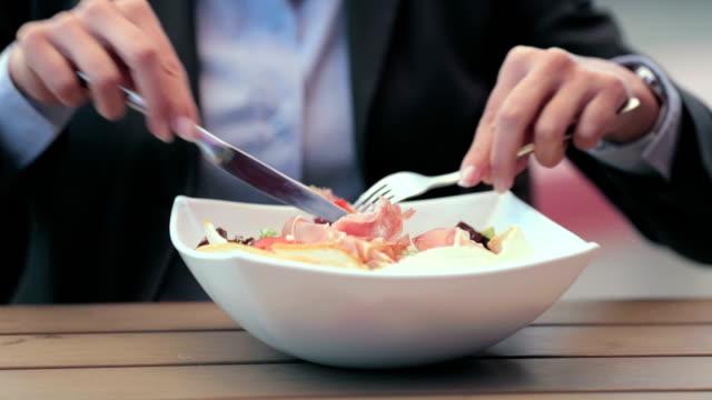 Eating caesar salad video
