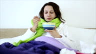 Eating chicken noodle soup in bed while sick video