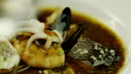 Eating Delicious Seafood Soup in Luxury Restaurant. Close-Up. video