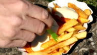 Eating french fries with mayonnaise video