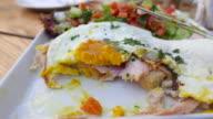 Eating Fried eggs breakfast video