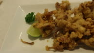 Eating fried squid japanese food video