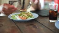 Eating in Thai restaurant video