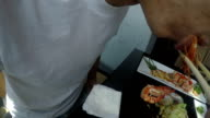 Eating Japanese food Point of view video