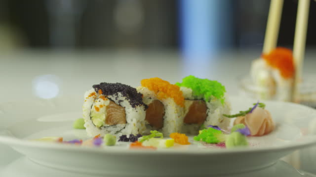 Eating Maki Sushi from Plate video