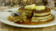 Eating Pancakes with Maple Syrup video