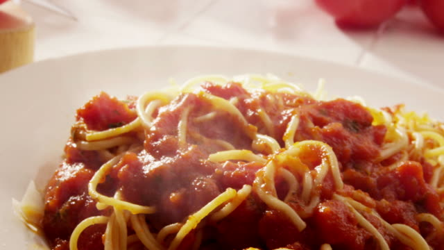 Eating plate of spaghetti video