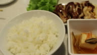 Eating rice and squid japanese food video