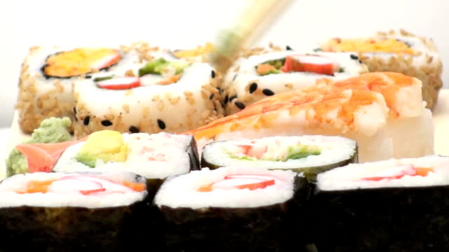 Eating Shimp sushi - HD video