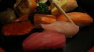 Eating sushi japanese food video
