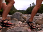 eco tourists hiking across river bed video