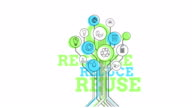Ecological Icons Tree. Recycle, Reduce, Reuse. 4K video