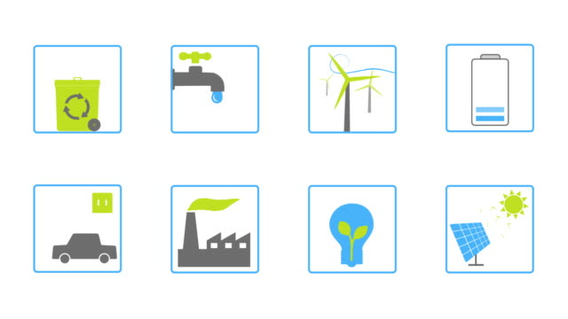 Ecology animated set of icons. With luma matte. video