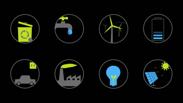 Ecology / green energy Animated icons for your website, application, presentation or movie. video