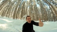 Ecstatic Man Showing Thumb Up In The Forest video