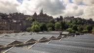 Edinburgh Castle Over Waverley Station Roof - Time Lapse video
