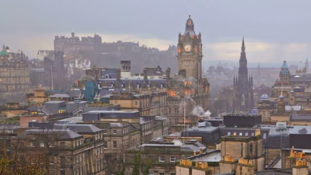 Edinburgh Cityscape Time Lapse at Dusk video
